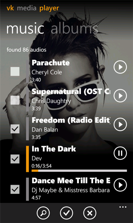 VK Media Player для Windows Phone