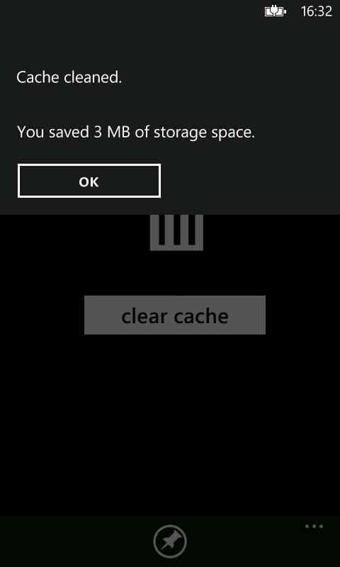 CacheClearer для Windows Phone