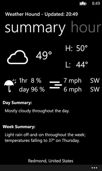 Weather Hound для Windows Phone