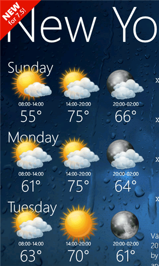 Weather View для Windows Phone