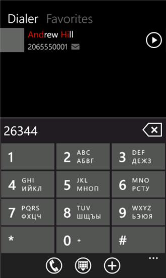 Quick Call для Windows Phone