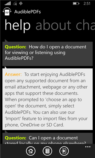 AudiblePDFs для Windows Phone