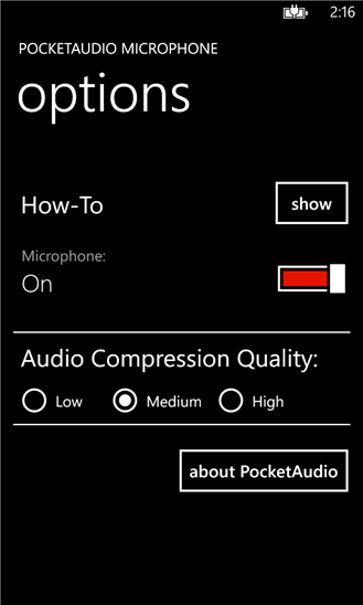 PocketAudio Microphone для Windows Phone