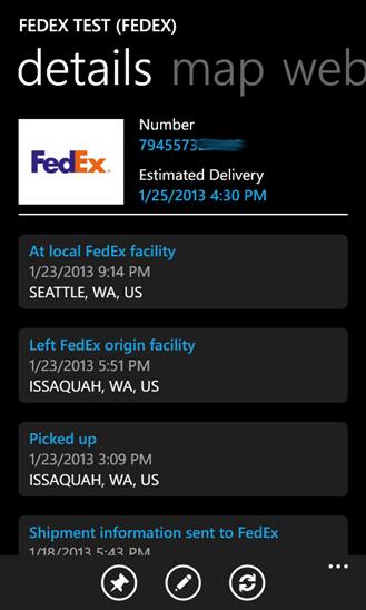 Package Tracker для Windows Phone