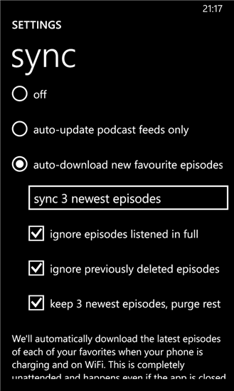 Podcast Lounge для Windows Phone