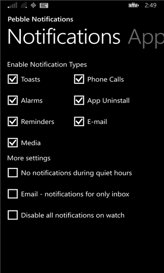 Pebble Notifications для Windows Phone