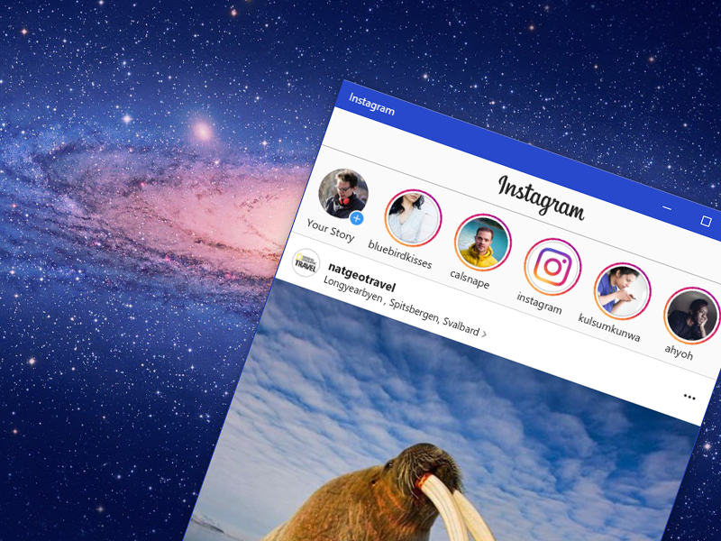 Появилось приложение социальная сеть Instagram для ПК с Windows 10