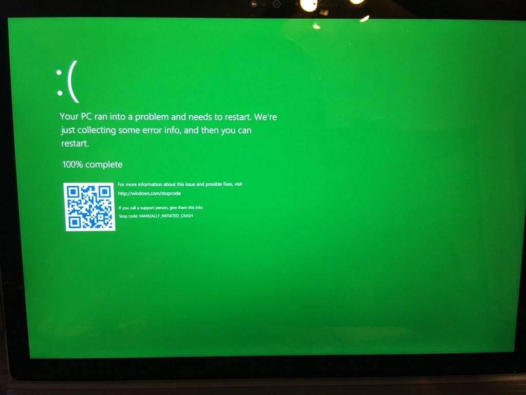 Юзеры тестовой версии Windows 10 говорили о зеленом «экране смерти»