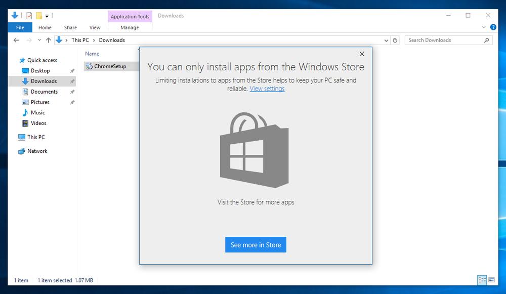 ВWindows 10 появится блокировка приложений неизWindows Store