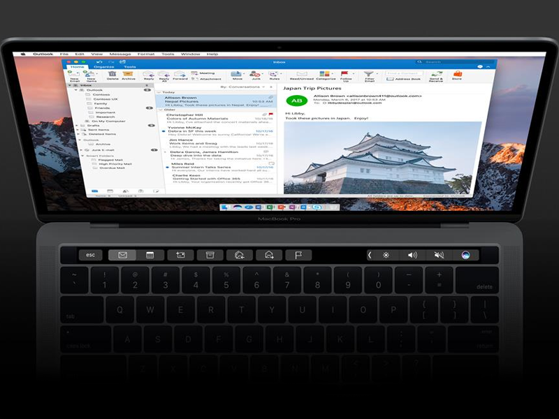 Outlook Touch Bar