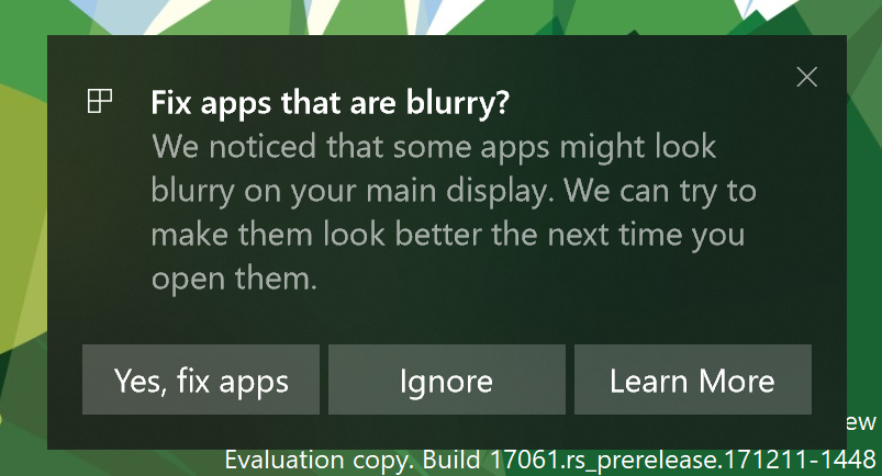Blurry Apps Not