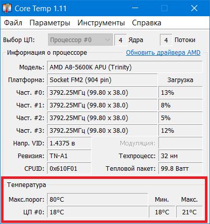 CPU CoreTemp Temp