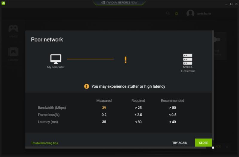 GeForce Now Network Test