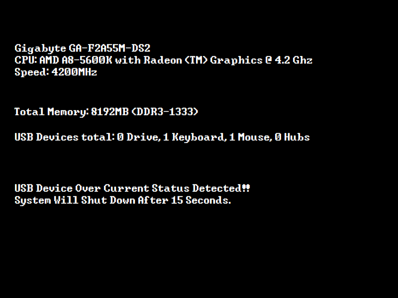 USB Device Over Current Status Error