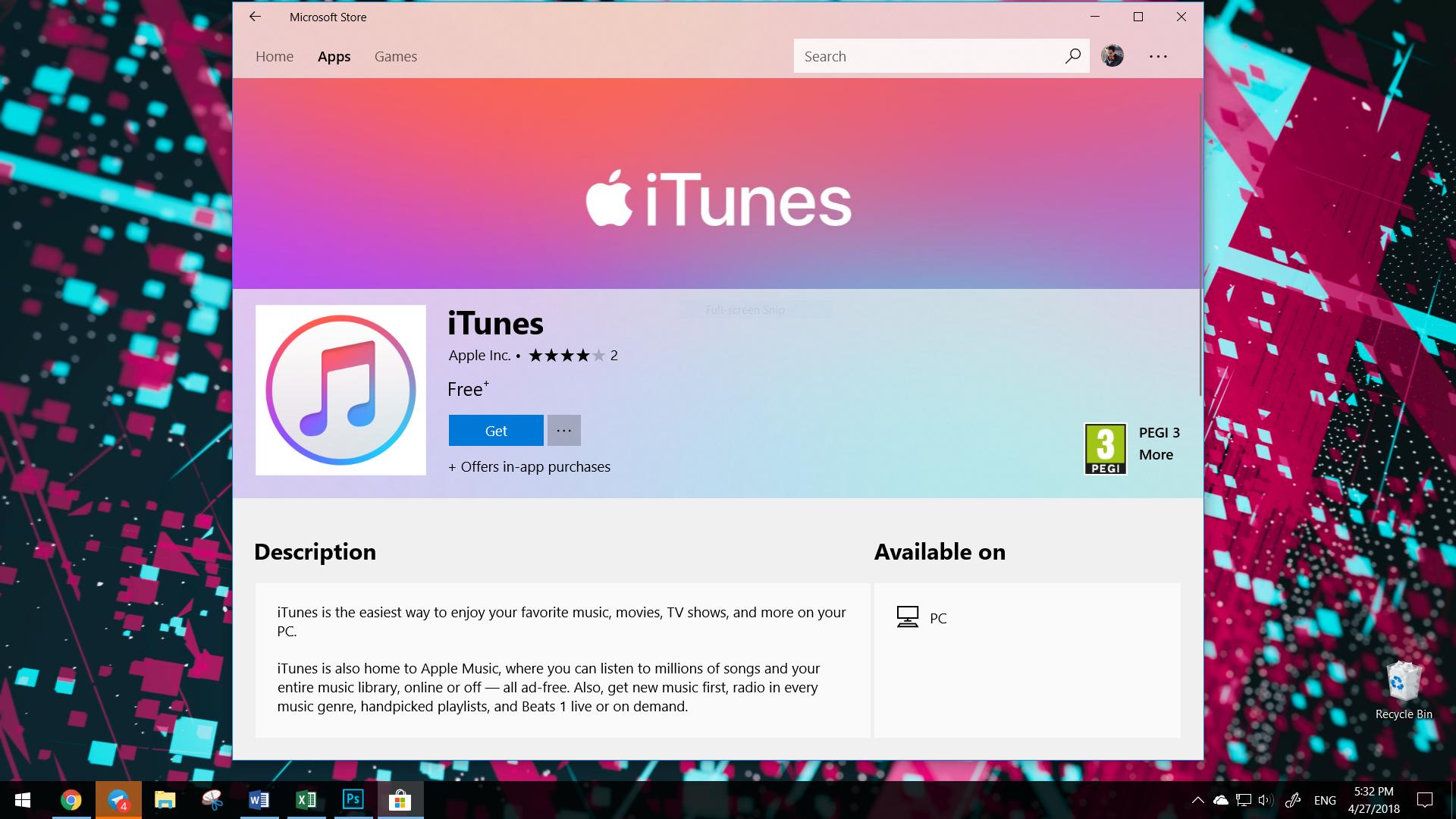 Создатели добавили вMicrosoft Store сервис iTunes отApple
