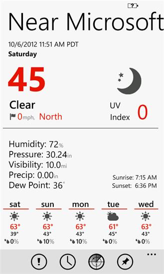 Amazing Weather для Windows Phone