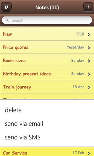 miNotes для Windows Phone