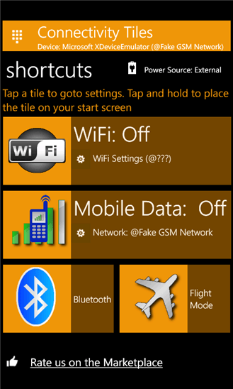 Connectivity Tiles для Windows Phone