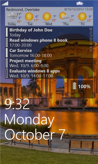 LockScreen Calendar для Windows Phone
