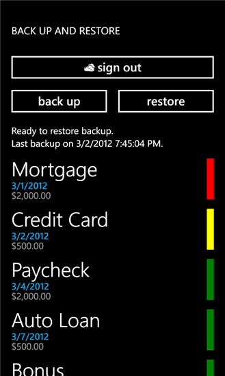 Bill Reminder для Windows Phone