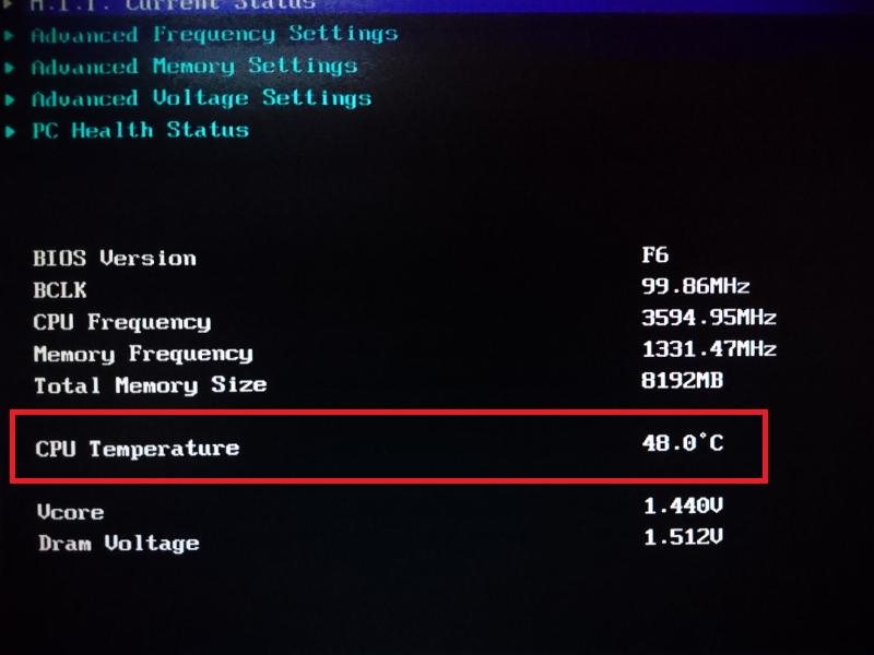 CPU Bios Temp