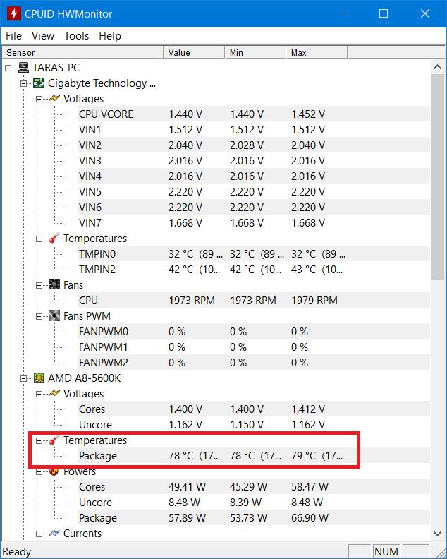 HWMonitor CPU temp