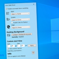 Windows 10 Auto Dark Mode – удобная утилита для автоматической смены черной и светлой темы